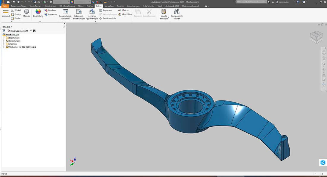 CAD Konstruktion eines Industrierührers mit Autodesc Inventor