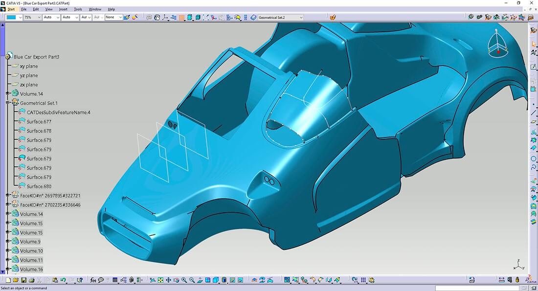 CAD Konstruktion eines Sonderbau-Fahrzeuges mit CATIA V5