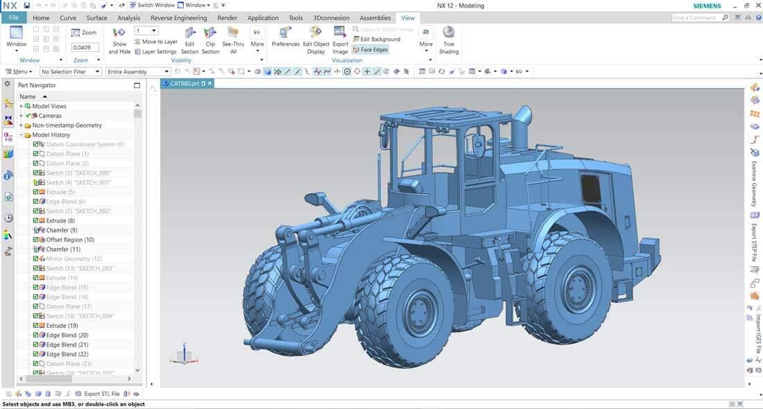 CAD Konstruktion eines Radladers mit Siemens NX