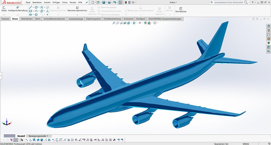 CAD Konstruktion eines A380 mit SolidWorks